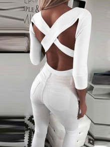 White Cut Out Cross Back Backless V-neck Long Sleeve Fashion T-Shirt