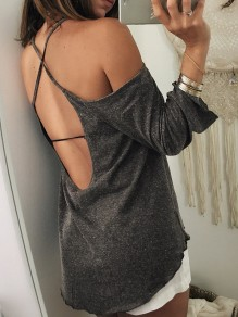 T-shirt crossback backless girocollo maniche A 3/4 grigio scuro