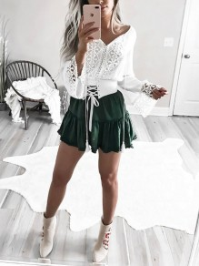 White Patchwork Lace Tassel Bodycon Lace-up Going out T-Shirt