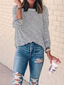Black White Striped Print Round Neck Long Sleeve Fashion T-Shirt