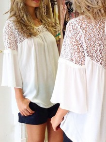 White Patchwork Cut Out Lace Oversize Flowy Splicing Flutter Sleeve Fashion T-Shirt