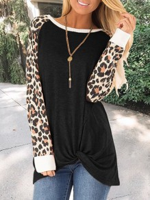 Black Patchwork Leopard Print Round Neck Long Sleeve Preppy Style Casual T-Shirt