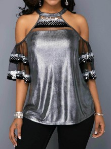 Silver Patchwork Sequin Grenadine Cut Out Bronzing Round Neck T-Shirt