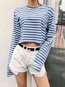 Blue-White Striped Print Long Sleeve Round Neck Fall Fashion Casual T-Shirt