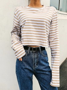 Beige-White Striped Print Long Sleeve Round Neck Fall Fashion Casual T-Shirt