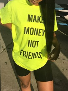 "Neon Yellow ""MAKE MONEY NOT FRIENDS""Letter Print Round Neck Short Sleeve Casual T-Shirt"