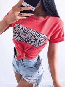 Red Leopard Print Knot Round Neck Short Sleeve Fashion T-Shirt
