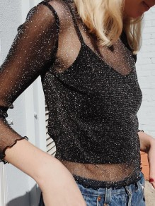 Black Sequin Glitter Sparkly Long Sleeve Fashion Sheer Cover Up Gilrs T-Shirt