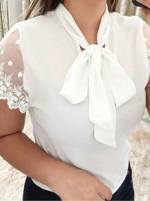 White Patchwork Lace Bow Short Sleeve Sweet T-Shirt