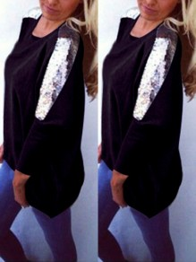 Black Sequin Long Sleeves Round Neck Cotton Loose Casual Womens T-shirt