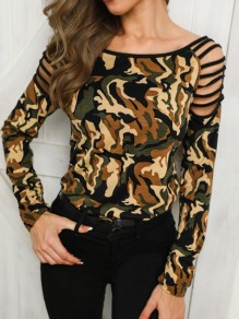 Green Yellow Camouflage Print Cut Out Round Neck Long Sleeve T-Shirt