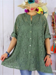 Green Patchwork Lace Bodycon Ttrendy Comfy Going out T-Shirt