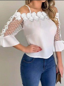 White Patchwork Lace Grenadine Bodycon Spaghetti Strap Off Shoulder Sweet T-Shirt