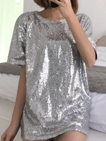 Silver Sequin Glitter Sparkly Round Neck Short Sleeve Oversize T-Shirt Mini Dress