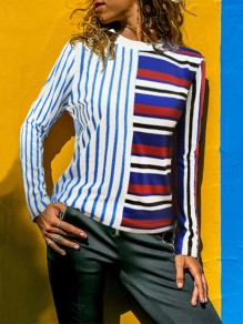 Blue Striped Print Round Neck Long Sleeve Fashion T-Shirt