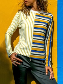 Yellow Striped Print Round Neck Long Sleeve Fashion T-Shirt