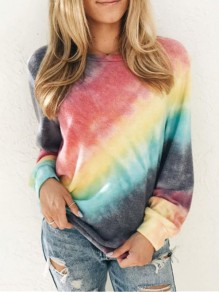 Red Tie Dye Colorful Print Round Neck Long Sleeve Fashion Casual T-Shirt