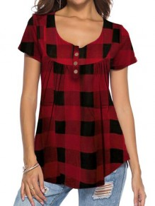 Red-Black Plaid Single Breasted Short Sleeve Pajama Casual T-Shirt