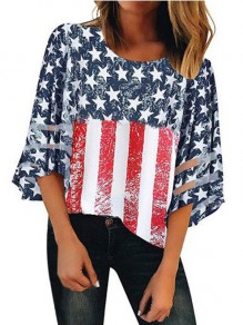 Blue Patchwork Grenadine Striped American Flag Pattern 3/4 Sleeve Independence Day Casual T-Shirt