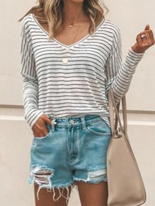 White Black Striped Pattern V-neck Long Sleeve Oversized Fashion T-Shirt