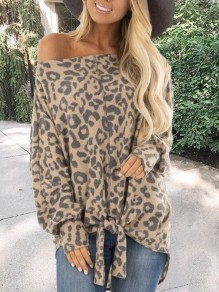 Camel Leopard Print Off Shoulder Long Sleeve Lace-up Casual T-Shirt