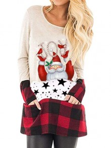 White-Red Plaid Santa Pattern Pockets Christmas Long Sleeve Oversized T-shirt