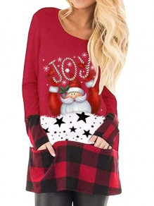 Red Plaid Santa Pattern Pockets Christmas Long Sleeve Oversized T-shirt
