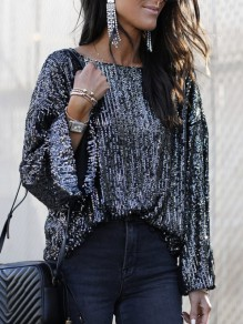 Black Patchwork Sequin Round Neck Long Sleeve Glitter Sparkly Fashion T-Shirt