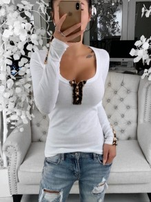 White Patchwork Buttons Comfy Slim Round Neck Long Sleeve Fashion T-Shirt