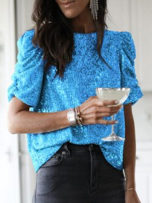 Blue Sequin Half Sleeve Sparkly Glitter Banquet Clubwear Party T-Shirts