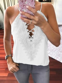 White Lace Bodycon Halter Neck Going out V-neck Vest