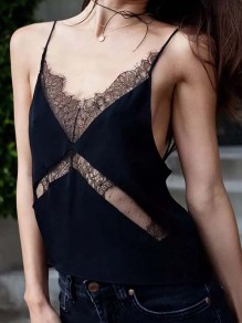 Black Patchwork Lace Cut Out Bodycon Spaghetti Strap backless Sweet Vest