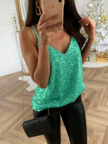 Green Plus Size Shoulder-Strap Sequin V-neck Shimmer Glitter Sparkly Birthday Party Casual Vest