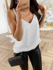 White Sequin Sparkly Glitter Spaghetti Strap V-neck Fashion Vest