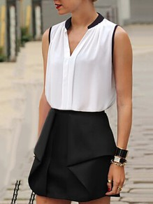 White Patchwork Draped Chiffon Bodycon Comfy V-neck Going out Vest
