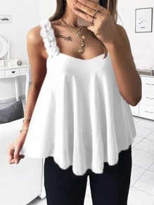 White Appliques Spaghetti Strap V-neck Going out Fashion Vest