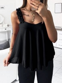 Black Appliques Spaghetti Strap V-neck Going out Fashion Vest