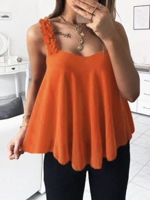 Orange Appliques Spaghetti Strap V-neck Going out Fashion Vest