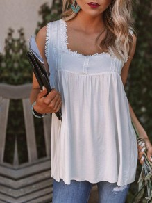 White Patchwork Cut Out Backless Sleeveless Fashion Vest
