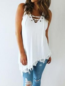 White Patchwork Lace Irregular Lace-up V-neck Fashion Going out Vest