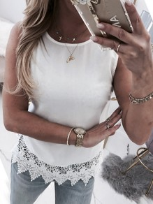 White Patchwork Lace Cut Out Bow Backless Fashion Vest