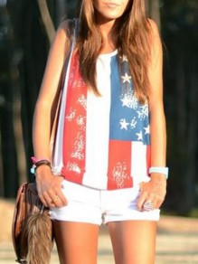 White Striped American Flag Print Draped Distressed Independence Day Casual Vest