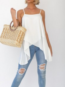 White Irregular Draped Spaghetti Strap Sleeveless Fashion Vest