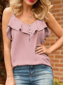 Pink Ruffle Fashion Cute Comfy Going out Fashion Vest