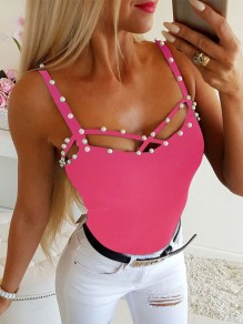 Pink Cut Out Fashion Cute Comfy Going out Fashion Vest