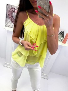 Yellow Patchwork Ruffle Bodycon Comfy Spaghetti Strap Sweet Vest