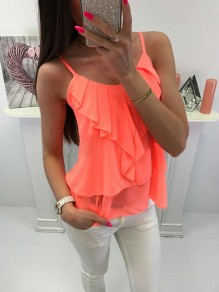 Orange Patchwork Ruffle Bodycon Comfy Spaghetti Strap Sweet Vest
