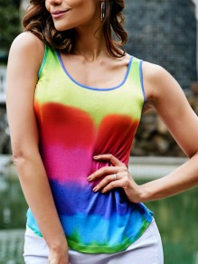 Red Gradient Rainbow Rasta Pride Casual Vest