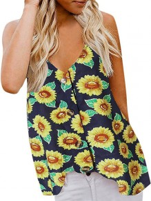 Navy Blue Sunflower Print Buttons Spaghetti Strap V-neck Bohemian Beach Vest
