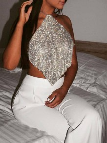 Silber Strass Bralette Diamond Neckholder Backless Glitter Sparkly Birthday Party Weste